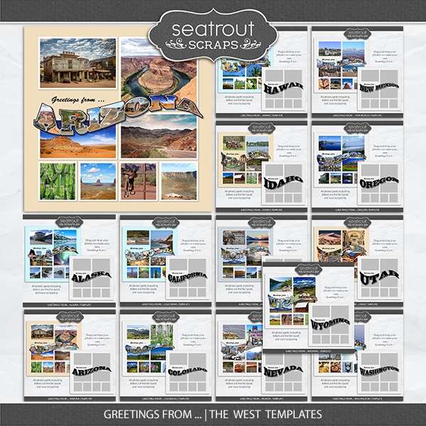 Greetings From ... The West Templates Digital Art - Digital Scrapbooking Kits