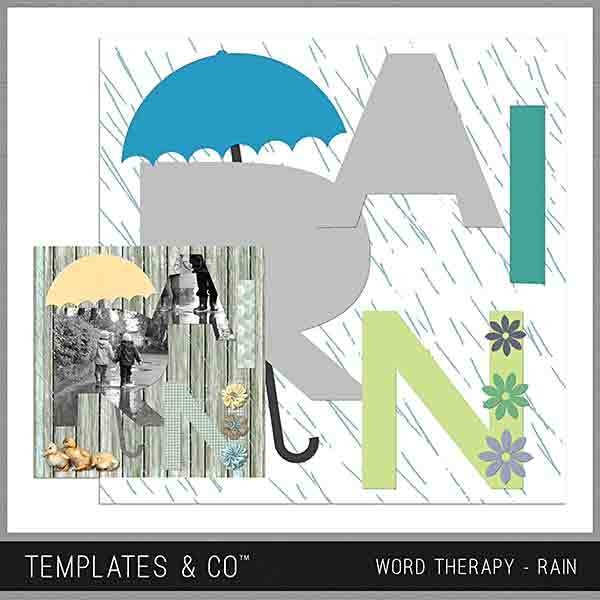 Word Therapy - Rain Digital Art - Digital Scrapbooking Kits