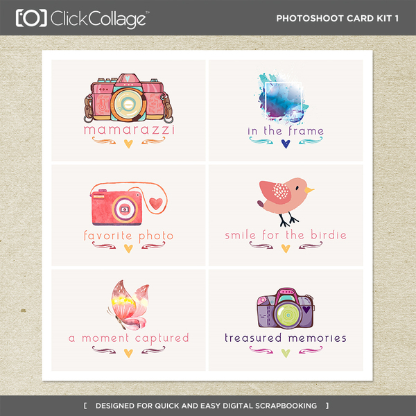 Photoshoot Card Kit 1 Digital Art - Digital Scrapbooking Kits