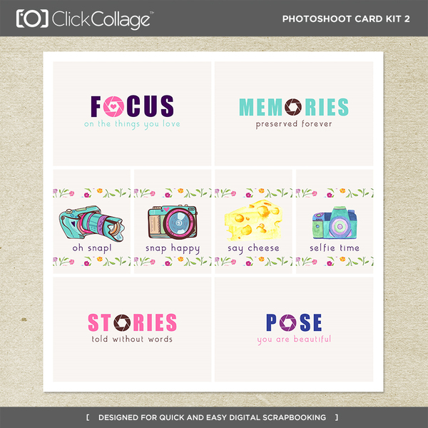 Photoshoot Card Kit 2 Digital Art - Digital Scrapbooking Kits