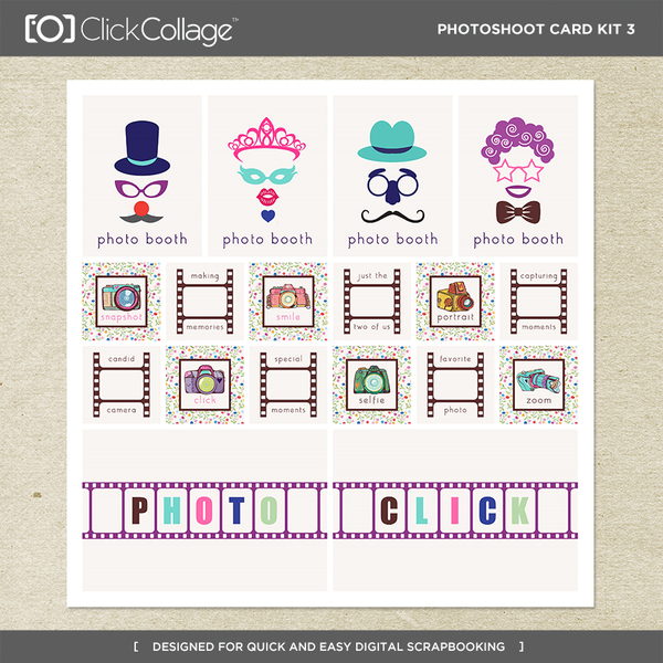 Photoshoot Card Kit 3 Digital Art - Digital Scrapbooking Kits