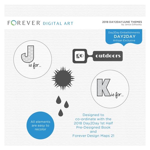 2018 Day2Day June Themes Digital Art - Digital Scrapbooking Kits