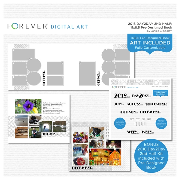 2018 Day2Day 2nd Half Pre-designed Book 11x8.5 Digital Art - Digital Scrapbooking Kits