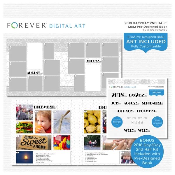 2018 Day2Day 2nd Half Pre-designed Book 12x12 Digital Art - Digital Scrapbooking Kits