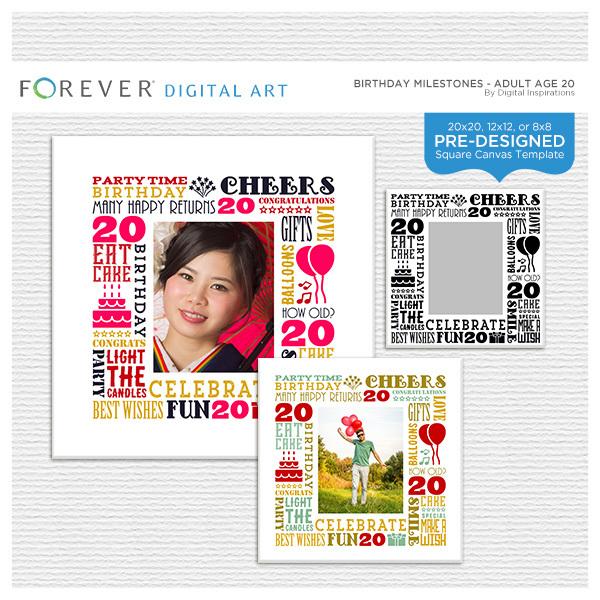 Birthday Milestones - Adult Age 20 Canvas Digital Art - Digital Scrapbooking Kits