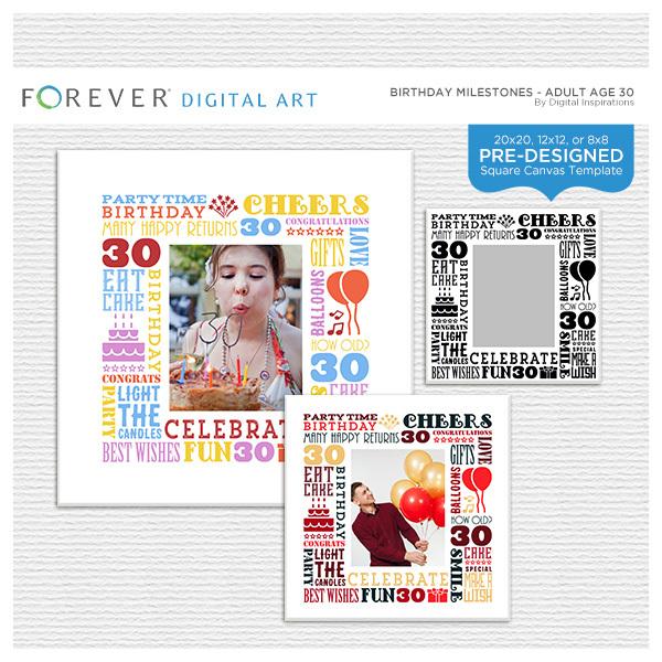 Birthday Milestones - Adult Age 30 Canvas Digital Art - Digital Scrapbooking Kits