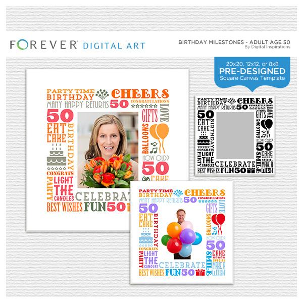 Birthday Milestones - Adult Age 50 Canvas Digital Art - Digital Scrapbooking Kits