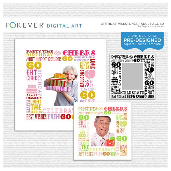 Birthday Milestones - Adult Age 60 Canvas Digital Art - Digital Scrapbooking Kits