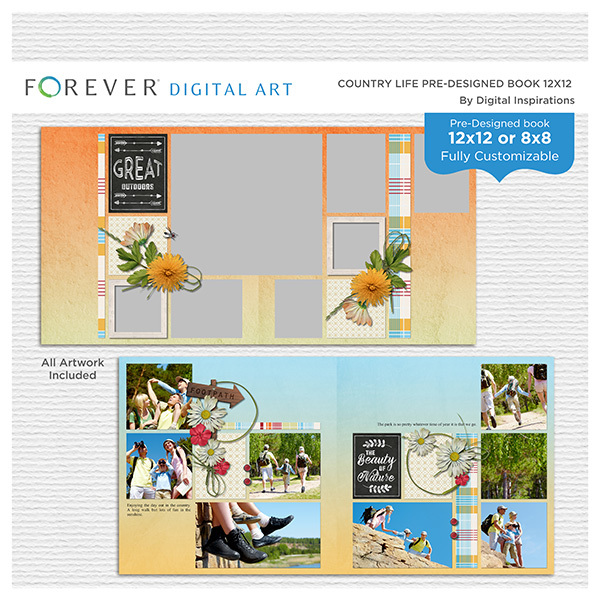 Country Life Pre-designed Book 12x12 Digital Art - Digital Scrapbooking Kits