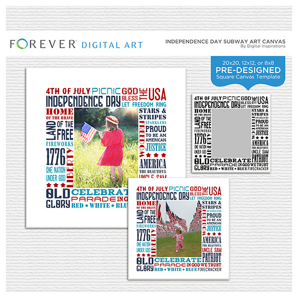 Independence Day Subway Art Canvas Digital Art - Digital Scrapbooking Kits