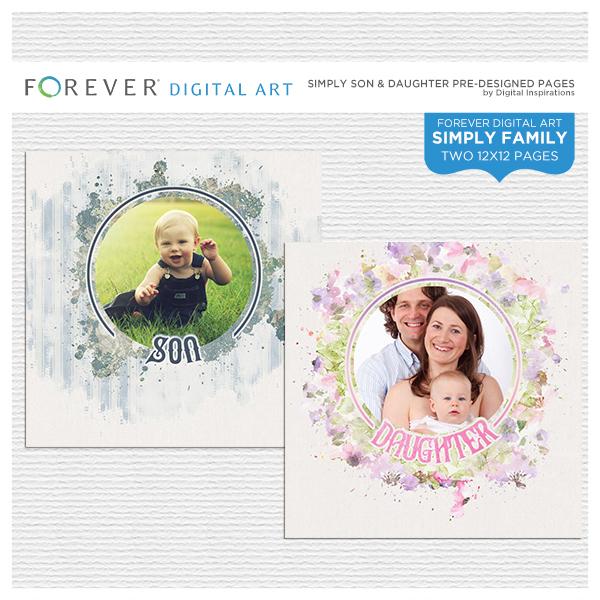 Simply Son & Daughter Pre-designed Pages Digital Art - Digital Scrapbooking Kits