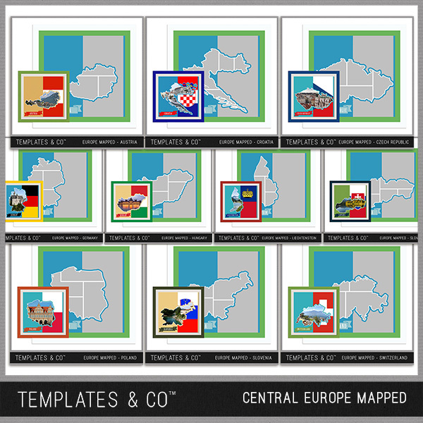 Europe Mapped - Central Europe Digital Art - Digital Scrapbooking Kits