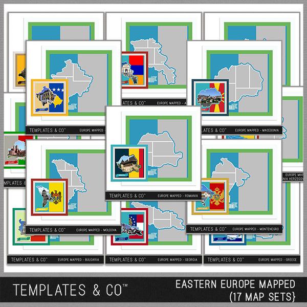 Europe Mapped - Eastern Europe Digital Art - Digital Scrapbooking Kits