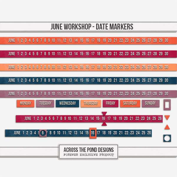 June Workshop - Date Markers Digital Art - Digital Scrapbooking Kits