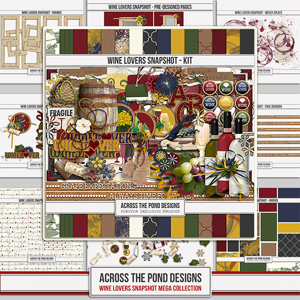 Wine Lovers Mega Collection Digital Art - Digital Scrapbooking Kits