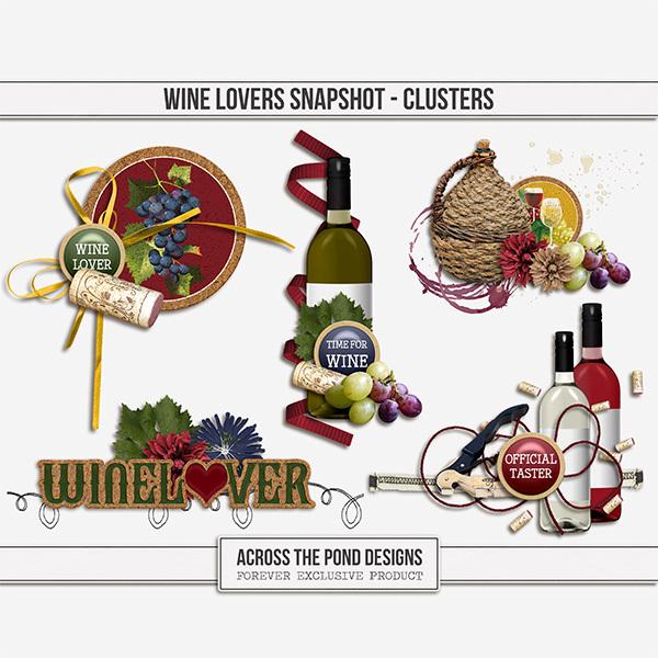 Wine Lovers Snapshot - Clusters Digital Art - Digital Scrapbooking Kits