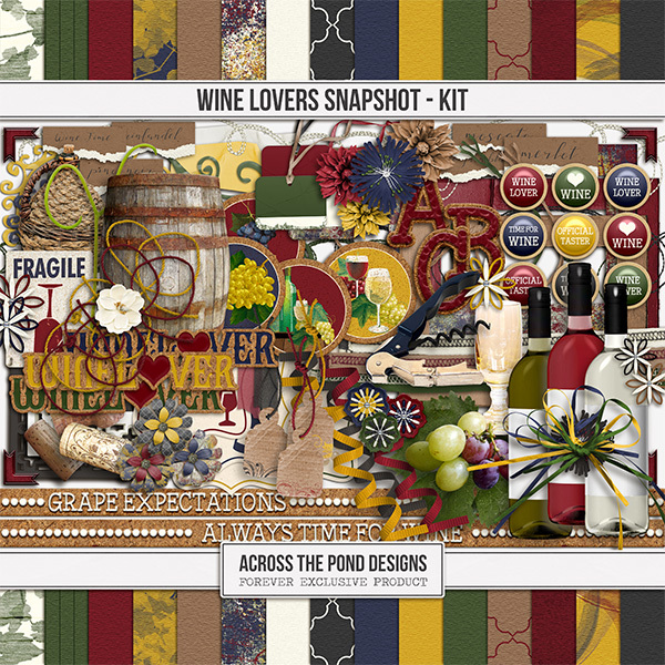 Wine Lovers Snapshot - Page Kit Digital Art - Digital Scrapbooking Kits