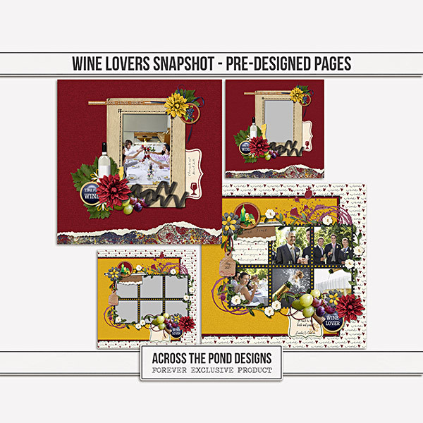 Wine Lovers Snapshot - Pre-designed Pages Digital Art - Digital Scrapbooking Kits