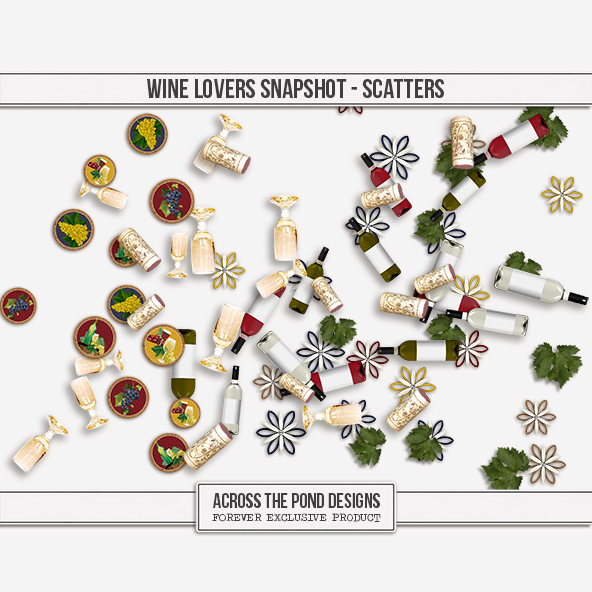 Wine Lovers Snapshot - Scatters Digital Art - Digital Scrapbooking Kits