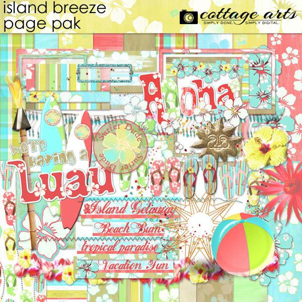 Island Breeze Page Pak Digital Art - Digital Scrapbooking Kits