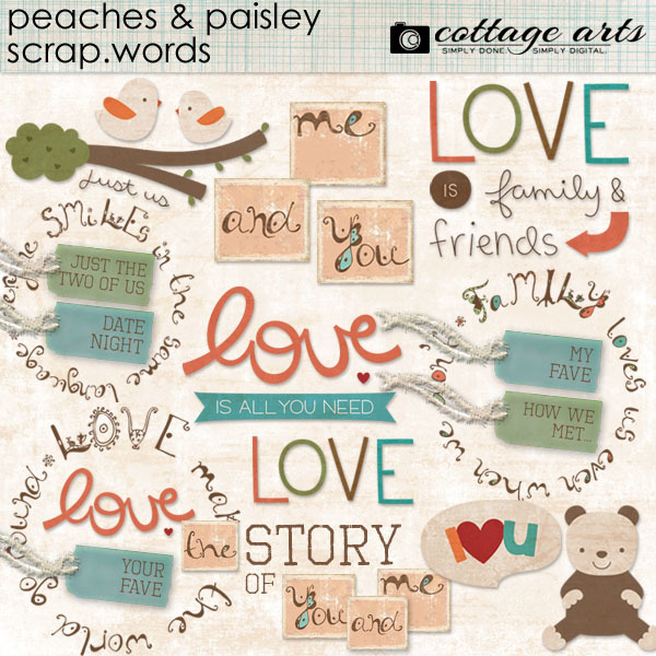 Peaches And Paisley Scrap.words Digital Art - Digital Scrapbooking Kits