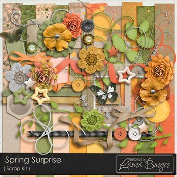 Spring Surprise Scrap Kit Digital Art - Digital Scrapbooking Kits