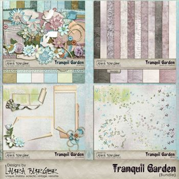 Tranquil Garden Exclusive Bundle Digital Art - Digital Scrapbooking Kits