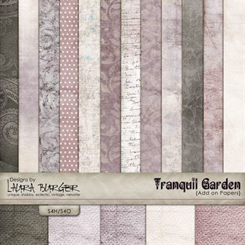 Tranquil Garden Pinks Papers Digital Art - Digital Scrapbooking Kits