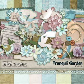Tranquil Garden Scrap Kit Digital Art - Digital Scrapbooking Kits
