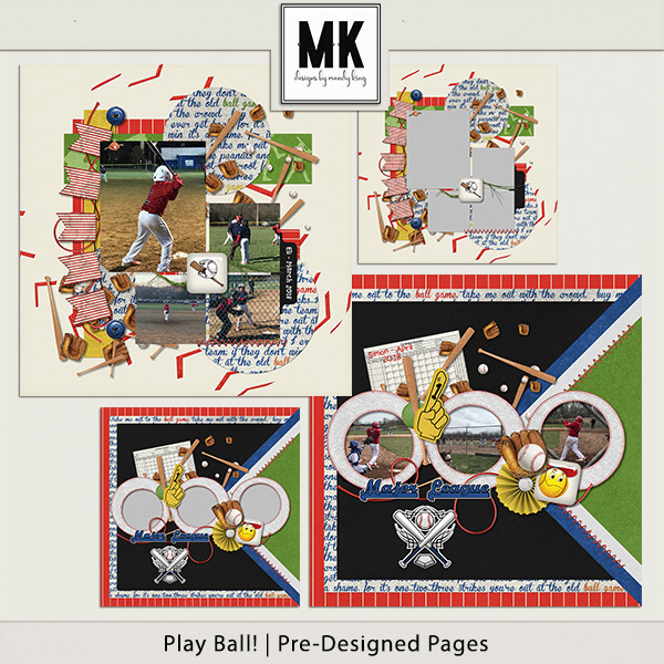 Play Ball! Pre-designed Pages Digital Art - Digital Scrapbooking Kits