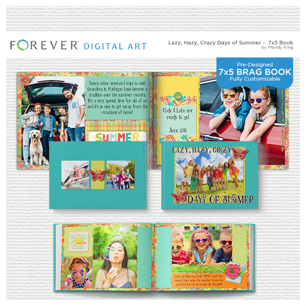Lazy Hazy Crazy Days Of Summer Brag Book Digital Art - Digital Scrapbooking Kits
