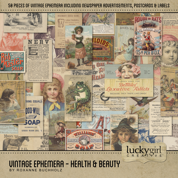 Vintage Ephemera - Health & Beauty Digital Art - Digital Scrapbooking Kits