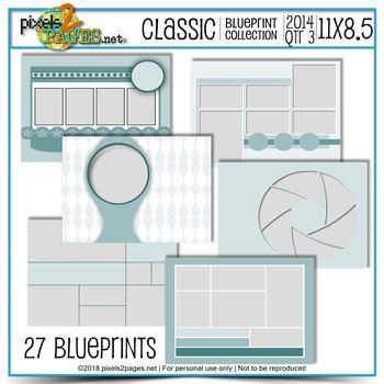 Classic Blueprint Collection 2014 - Quarter 3 (11x8.5) Digital Art - Digital Scrapbooking Kits