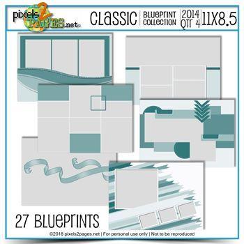 Classic Blueprint Collection 2014 - Quarter 4 (11x8.5) Digital Art - Digital Scrapbooking Kits