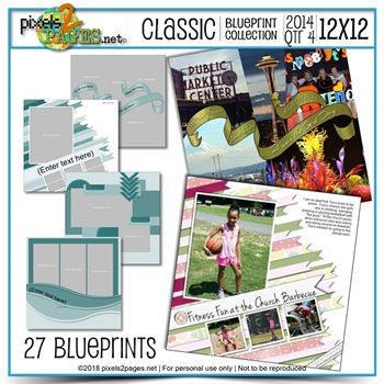 Classic Blueprint Collection 2014 - Quarter 4 (12x12) Digital Art - Digital Scrapbooking Kits