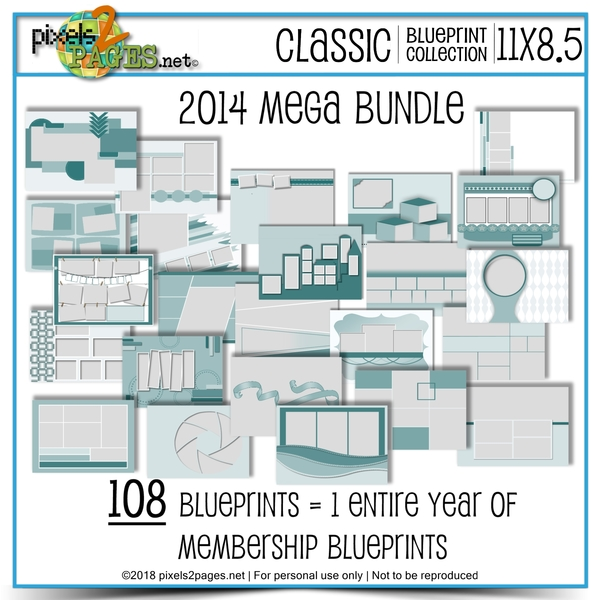 Classic Blueprint Collection 2014 Mega Bundle (11x8.5) Digital Art - Digital Scrapbooking Kits