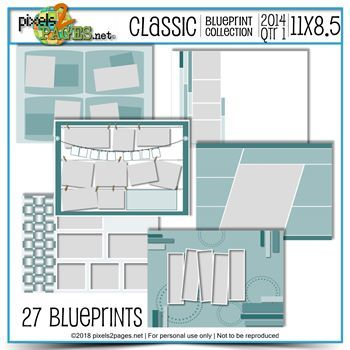 Classic Blueprint Collection 2014 Quarter 1 (11x8.5) Digital Art - Digital Scrapbooking Kits