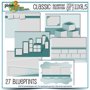 Classic Blueprint Collection 2014 Quarter 2 (11x8.5) Digital Art - Digital Scrapbooking Kits
