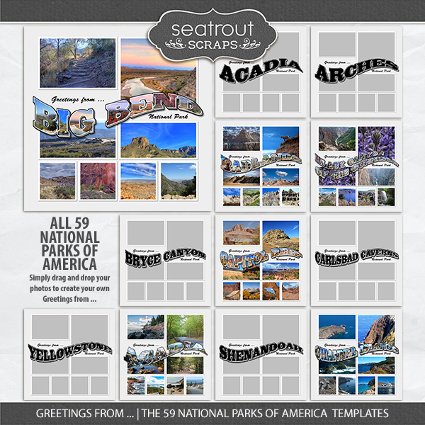Greetings From ... The 59 National Parks Of America Templates