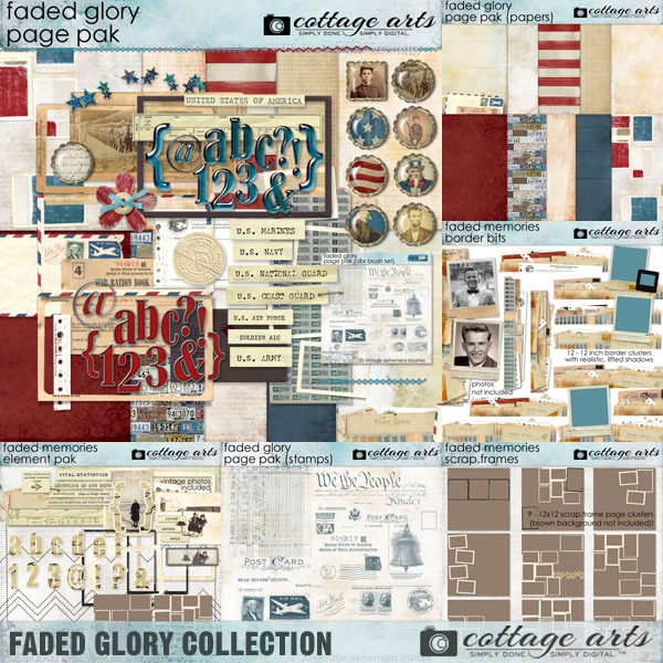 Faded Glory Collection Digital Art - Digital Scrapbooking Kits