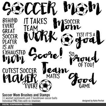 Soccer Mom Brushes And Stamps Digital Art - Digital Scrapbooking Kits