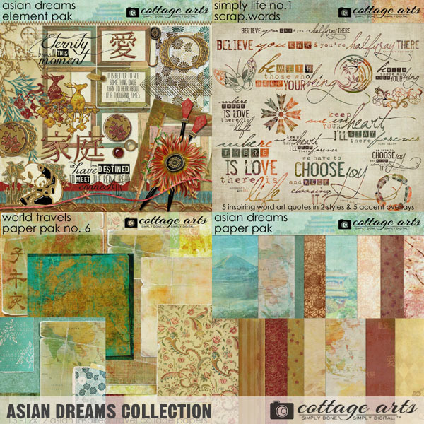 Asian Dreams Collection Digital Art - Digital Scrapbooking Kits