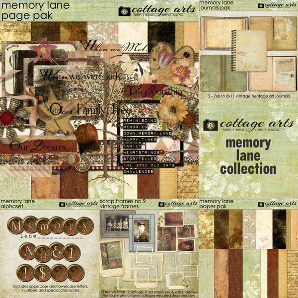Memory Lane Collection Digital Art - Digital Scrapbooking Kits