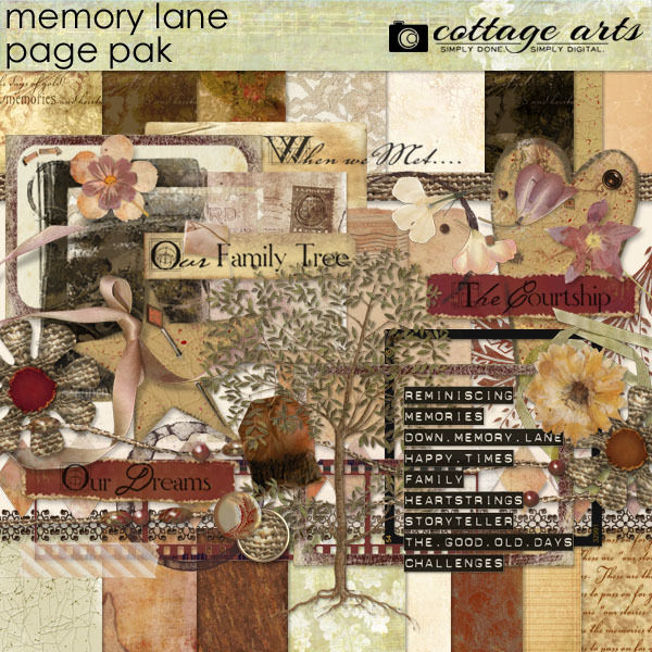 Memory Lane Page Pak Digital Art - Digital Scrapbooking Kits