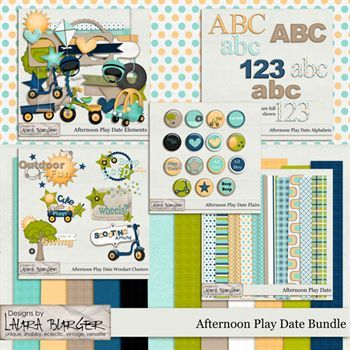 Afternoon Play Date Bundle Digital Art - Digital Scrapbooking Kits