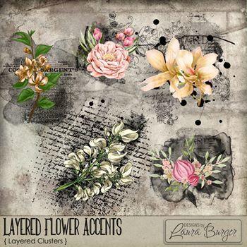 Layered Flower Accents Digital Art - Digital Scrapbooking Kits