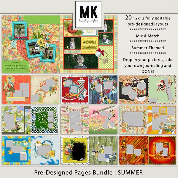 Pre-designed Pages Bundle - Summer Digital Art - Digital Scrapbooking Kits