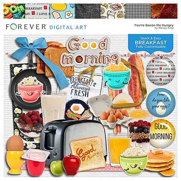 You're Bacon Me Hungry Page Kit Digital Art - Digital Scrapbooking Kits