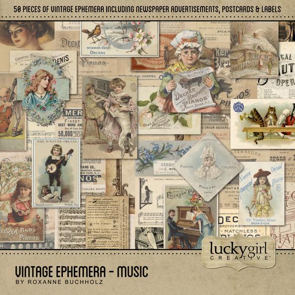 Vintage Ephemera - Music Digital Art - Digital Scrapbooking Kits