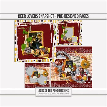Beer Lovers Snapshot - Pre-designed Pages Digital Art - Digital Scrapbooking Kits